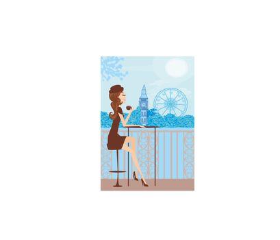 Pretty girl in London cafe