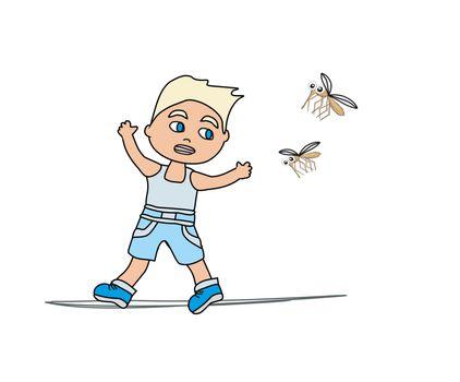 Boy runs away from mosquitoes