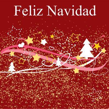 Feliz Navidad espanol vector Christmas card or invitation