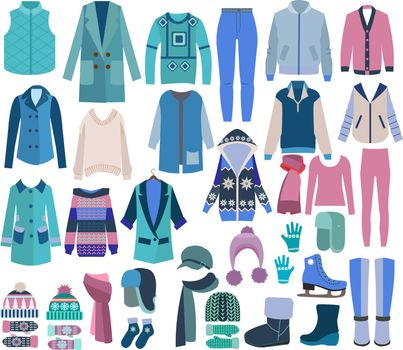 Vector hand drawn fashion Winter Clothes and Collection of Shoes, knitted Accessories.