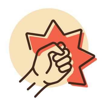 Punch, raised up clenched fist vector icon