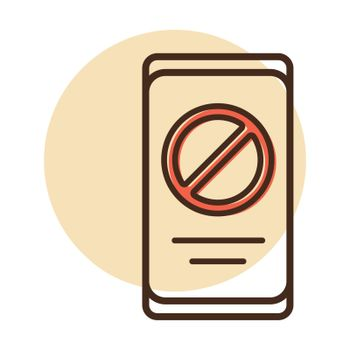 Prohibition sign on smartphone screen vector icon