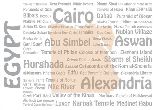 Travel to Egypt concept with blank map of Egypt and names of Egyptian cities and landmarks in the background.