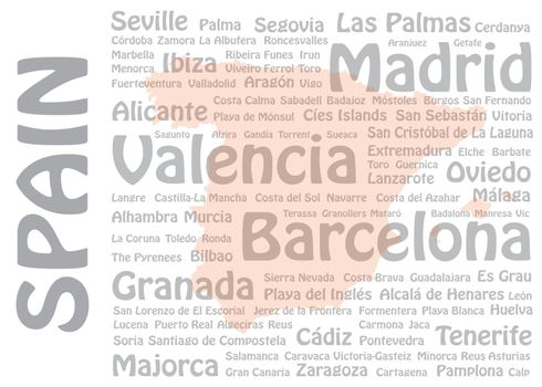 Travel to Spain concept with blank map of Spain and names of Spanish cities and landmarks in the background.