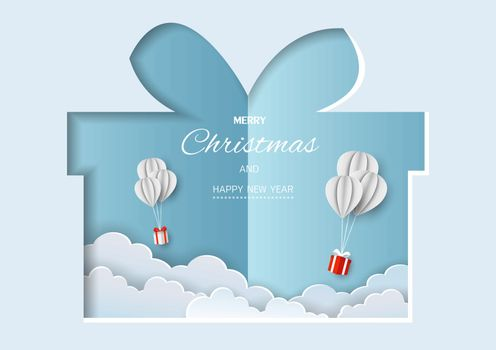 Merry Christmas and Happy new year greeting card,gift boxes flying in the air on paper cut background,vector illustration