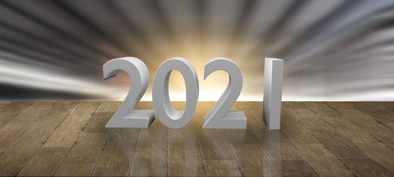wood stage podium for product during december, january happy new year 2021 for Metaphor technology connection internet, digital idea to startup in success future studio prop mockup banner background.