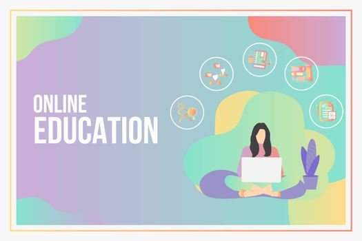 Online education concept with text place.Stay School Learn Study from home via teleconference web video conference call during coronavirus COVID-19 pandemic outbreak.E-learning infographic concept.