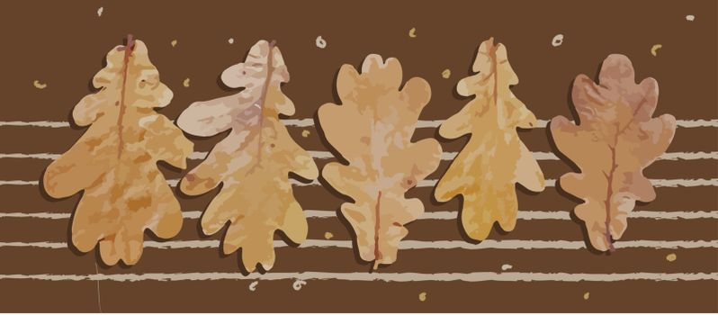 Horizontal poster with autumn leaves. Realistic vector illustration. Autumn concept. Postcard or banner leaf fall