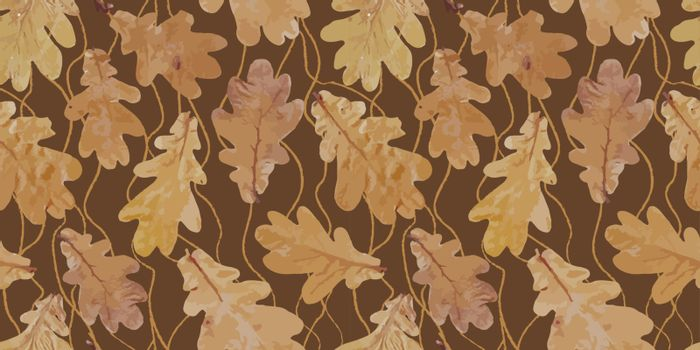 .Autumn geometric seamless patternBig banner for social media, covers for personal blogs, discount poster template for offline, online stores. autumn leaves on a dark background. Yellow leaves in real.