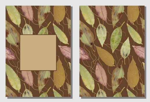Autumn sale banner with yellow foliage - oak leaves, on a dark background. Can be used as greeting, invitation card, template design, cover, party, advertisement. card templates