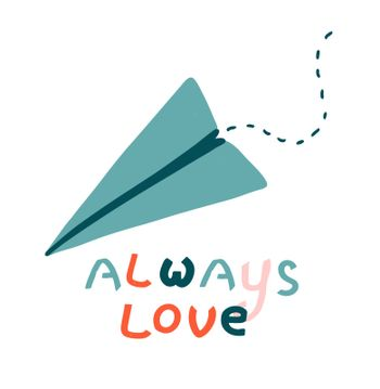 Paper airplane. Love message concept. Long distance relationships. Valentine's day card