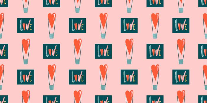Seamless romantic pattern with handmade red hearts. Colorful doodle hearts on a dark background. Template ready for design, postcard, print, poster, party, Valentine's Day, vintage textile. Vector