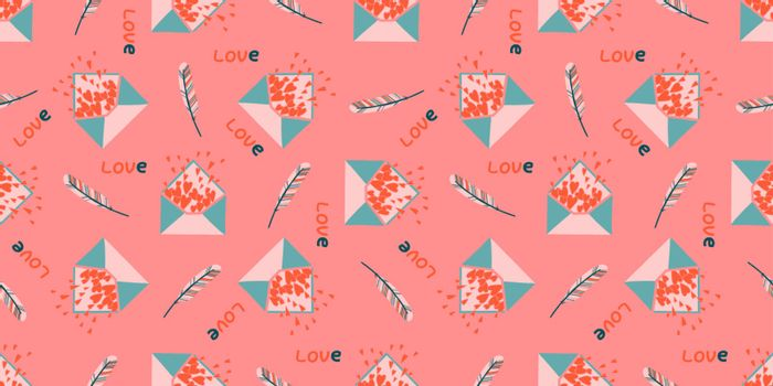 A poster for lovers. Spring pink seamless pattern. Valentine's day concept.Envelope with hearts. Love message