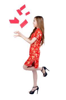 Beautiful portrait young asian woman cheongsam dress smiling rec