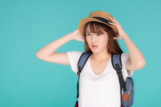 Beautiful young asian woman upset and worry travel summer trip i