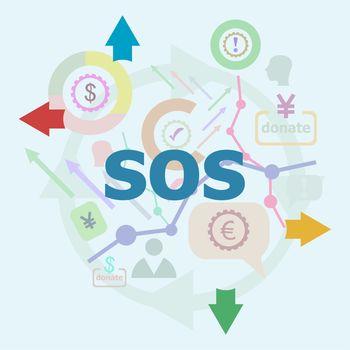 Text Sos. Education concept. Linear Flat Business icon set. Marketing promotion concept. Promote, time management concept