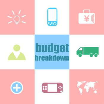 Business concept. words Budget breakdown . Infographic dashboard ui interface template
