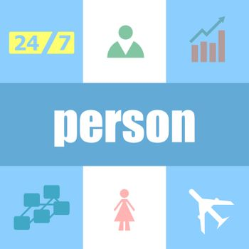 person word. Social concept . Can be used for workflow layout, diagram, business step options, banner