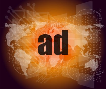 ad word on digital screen, global communication concept