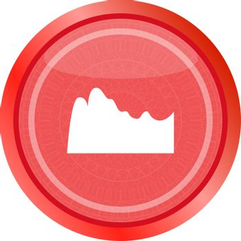mountain on glossy web icon isolated on white background