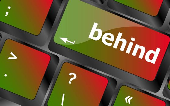 behind word on keyboard key, notebook computer button