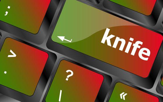 knife word word on computer keyboard keys
