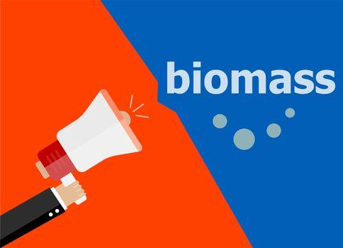 Biomass. Hand holding a megaphone. flat style