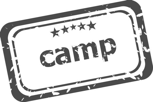 camp on rubber stamp over a white background