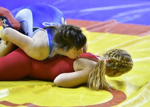 Orenburg, Russia - October 25-26, 2017: Girls compete in sports wrestling