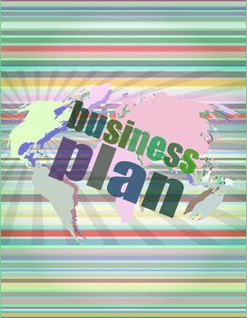 Management concept: business plan words on digital screen