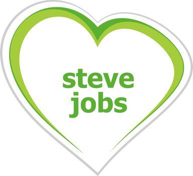 Text Steve Jobs. People concept
