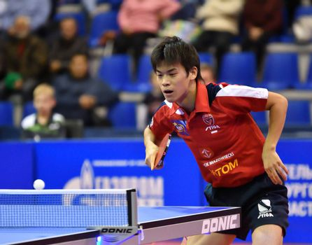 "Orenburg, Russia - September 28, 2017: boy compete in the European Champions League match table tennis ""torch-Gazprom, Russia and ""K.s. DARTOM DJGORIA GRODZISR"", Poland"