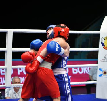 Orenburg, Russia - May 7, 2017 year: Boys boxers compete in the Championship of Russia in boxing among Juniors, born 1999-2000