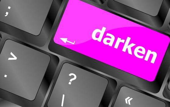 darken word on keyboard key, notebook computer button
