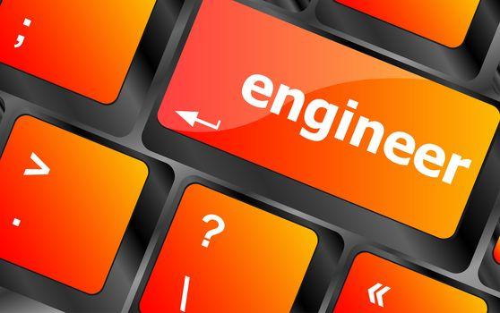 engineer word on computer pc keyboard key