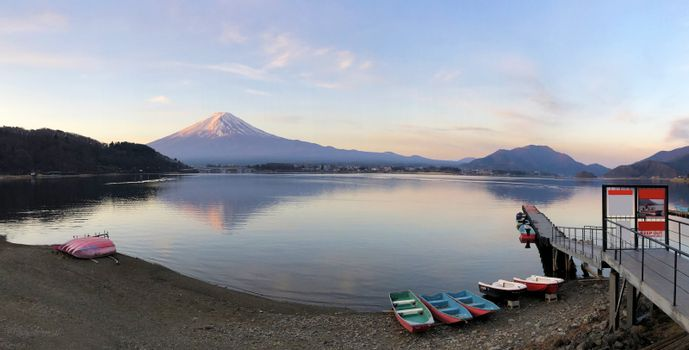 Panaromic sunrise beautiful view of  Mountain Fuji and Lake Kawaguchiko in Japan
