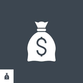 Money Bag with Dollar related vector glyph icon. Isolated on black background. Vector illustration.