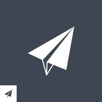 Paper Airplane related vector glyph icon. Isolated on black background. Vector illustration.