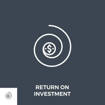 Return on Investment Related Vector Thin Line Icon. Isolated on Black Background. Editable Stroke. Vector Illustration.