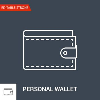 Personal Wallet Icon. Thin Line Vector Illustration. Adjust stroke weight - Expand to any Size - Easy Change Colour - Editable Stroke