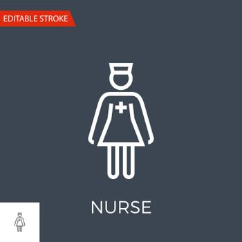 Nurse Thin Line Vector Icon. Flat Icon Isolated on the Black Background. Editable Stroke EPS file. Vector illustration.