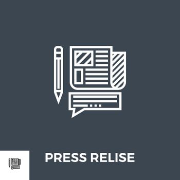 Press Release Related Vector Thin Line Icon. Isolated on Black Background. Editable Stroke. Vector Illustration.