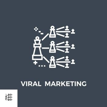 Viral Marketing Related Vector Thin Line Icon. Isolated on Black Background. Vector Illustration.