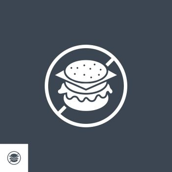 No Fast Food related vector glyph icon. Isolated on black background. Vector illustration.