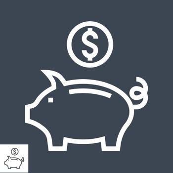 Piggy Bank Thin Line Vector Icon. Flat icon isolated on the black background. Editable EPS file. Vector illustration.