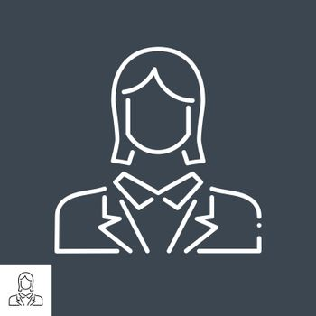 Employee Woman Related Vector Line Icon. Isolated on Black Background. Editable Stroke.