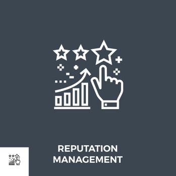 Reputation Management Related Vector Thin Line Icon. Isolated on Black Background. Editable Stroke. Vector Illustration.