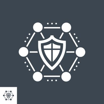 Network Protection Related Vector Glyph Icon. Isolated on Black Background. Vector Illustration.