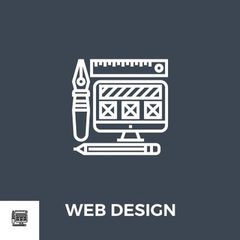 Web Design Related Vector Thin Line Icon. Isolated on Black Background. Vector Illustration.