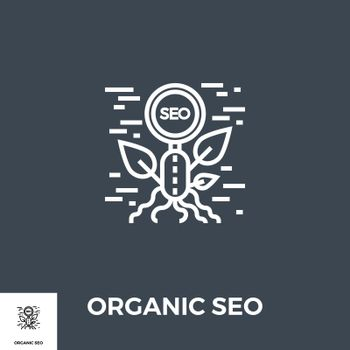 Organic SEO Related Vector Thin Line Icon. Isolated on Black Background. Editable Stroke. Vector Illustration.